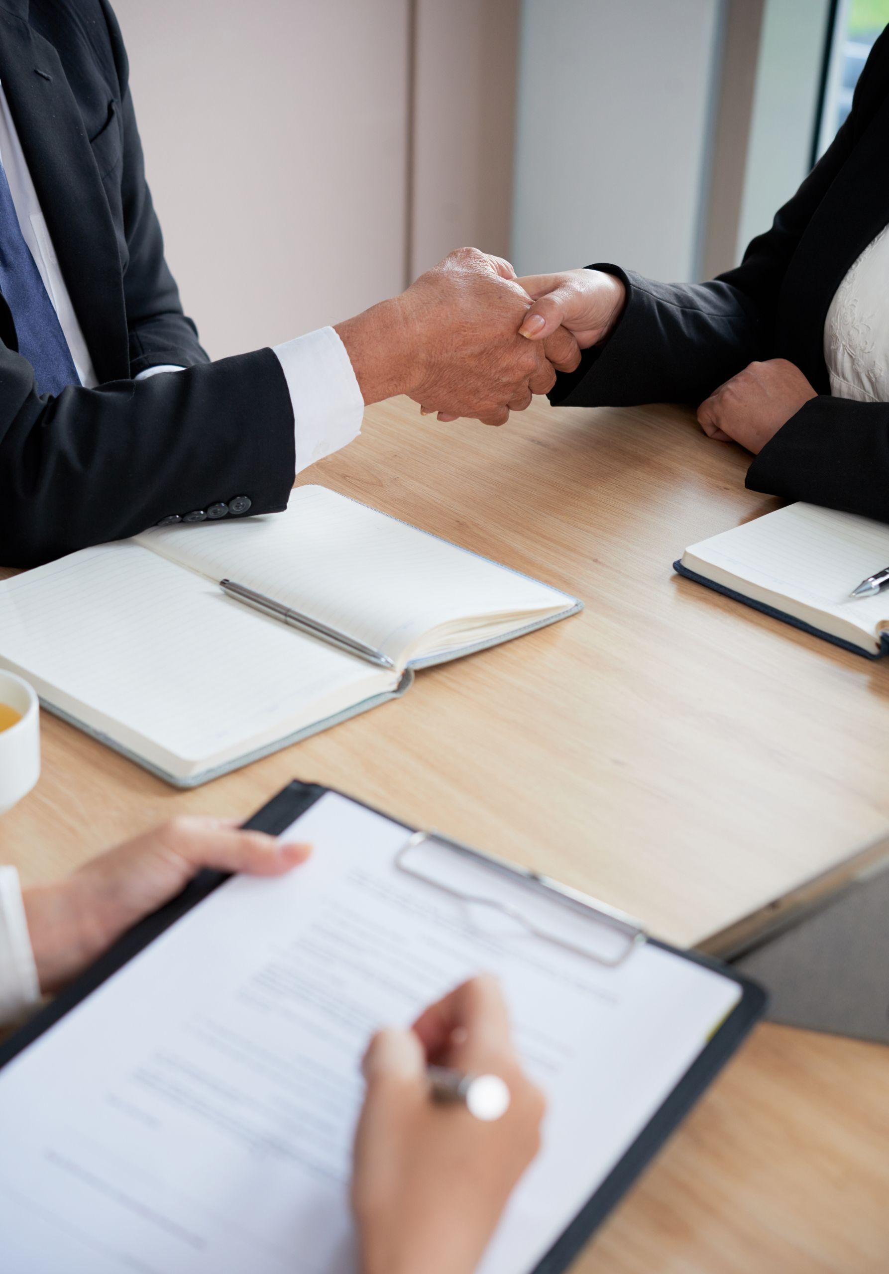handshake during meeting
